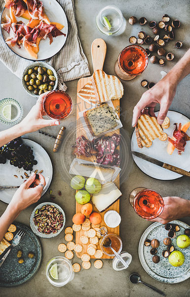 Seasonal picnic with rose wine, cheese, charcuterie and snacks