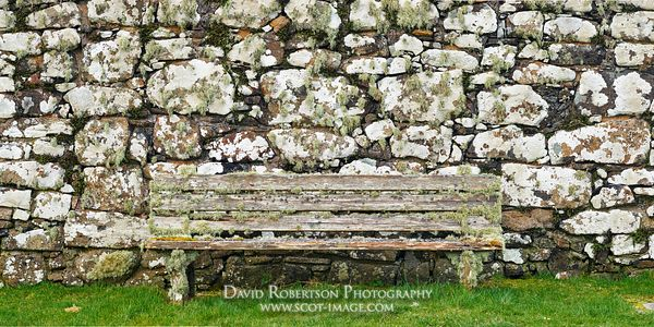 Image - Wooden bench and stone wall covered in fern and lichen, Trumpan Church, Trumpan, Waternish, Isle of Skye, Highland, S...