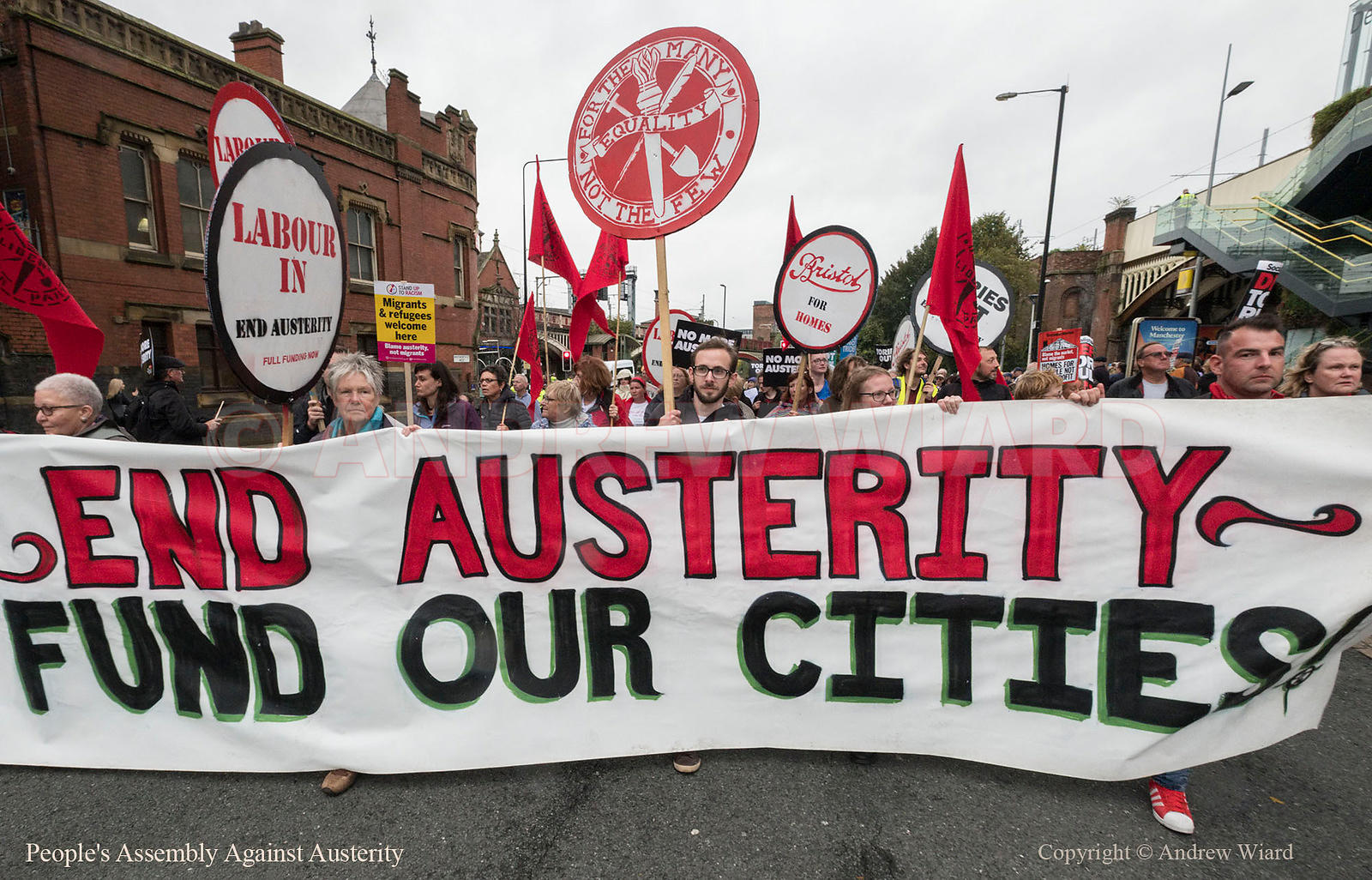 England, UK . 1.10.2017. Manchester . Conservative Party Conference, Sunday. People's Assembly Against Austerity march..