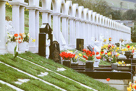 #012510,  Bryntaf Cemetery, Aberfan, Glamorgan, South Wales, 1975.  The Aberfan disaster happened on 21st October 1966 when a...