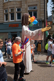#125004,   Effigy of Jesus by the Liberty Church, Blackpool at thePride march, Oxford, Saturday 1st June, 2019.