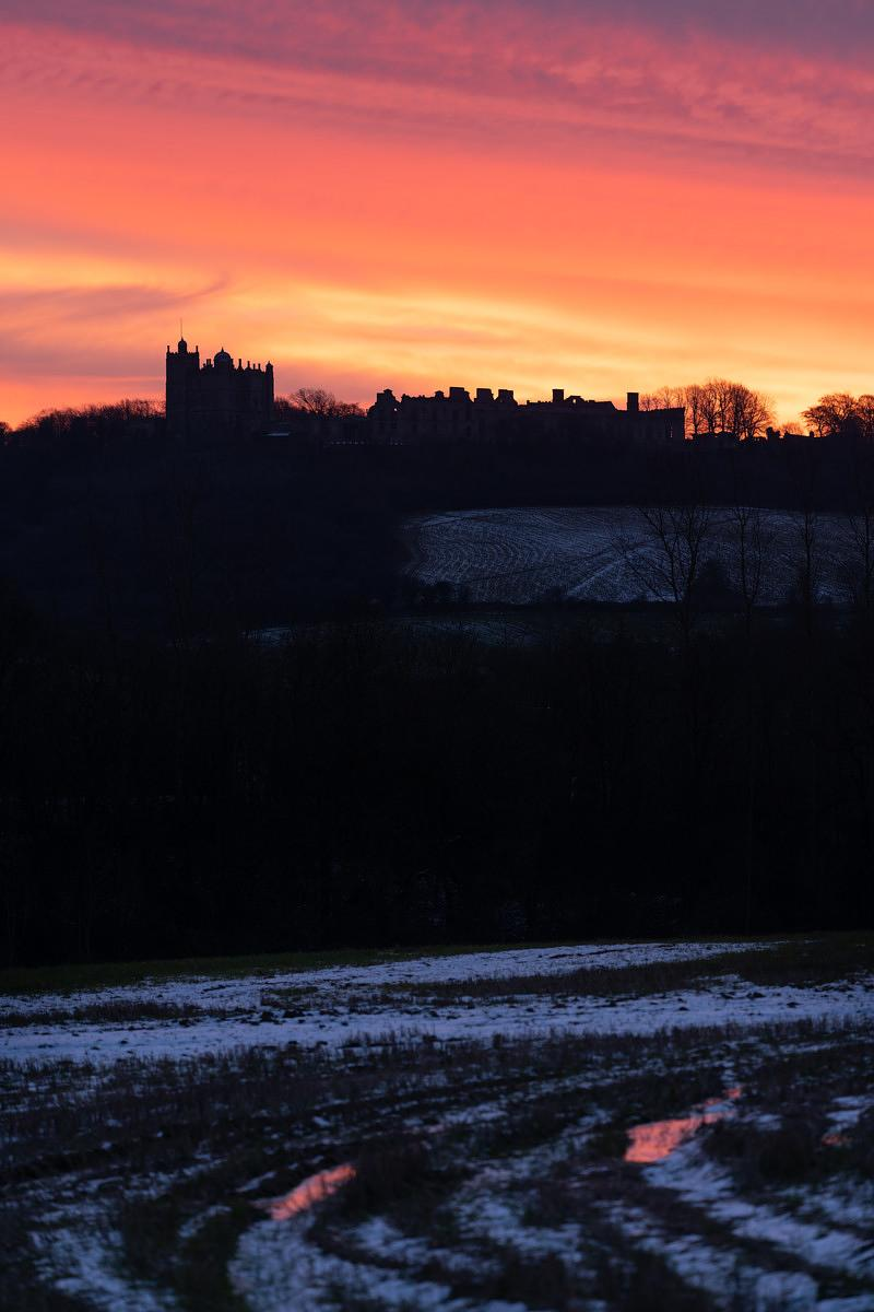 Bolsover Castle red dawn sky