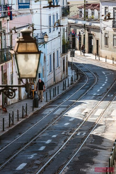 Street with tram tracks, Alfama, Lisbon, Portugal