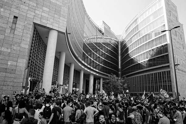A demonstration in front of the building where the Lombardy region administrative offices are located.