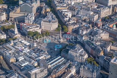 Aerial view of Trafalgar Square, Westminster, London.