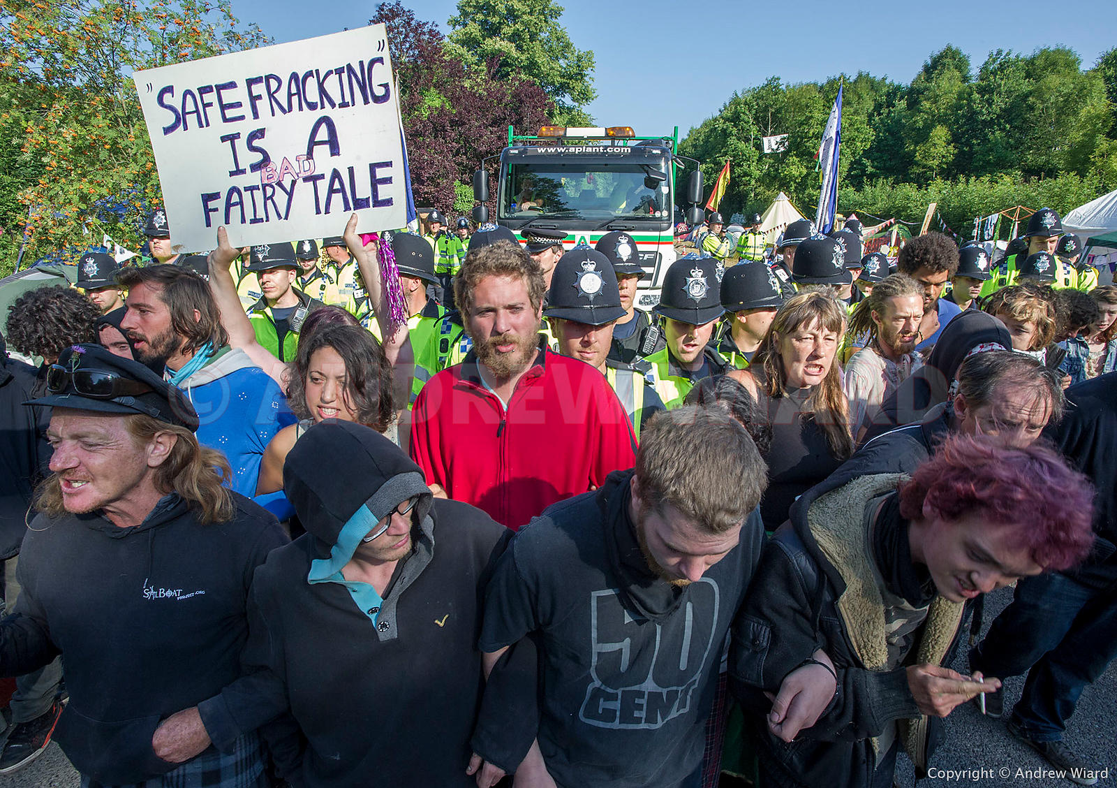 England, UK . 8.8.2013. Balcombe . Frack Free Sussex fracking protest against Cuadrilla test drilling for oil which could lea...