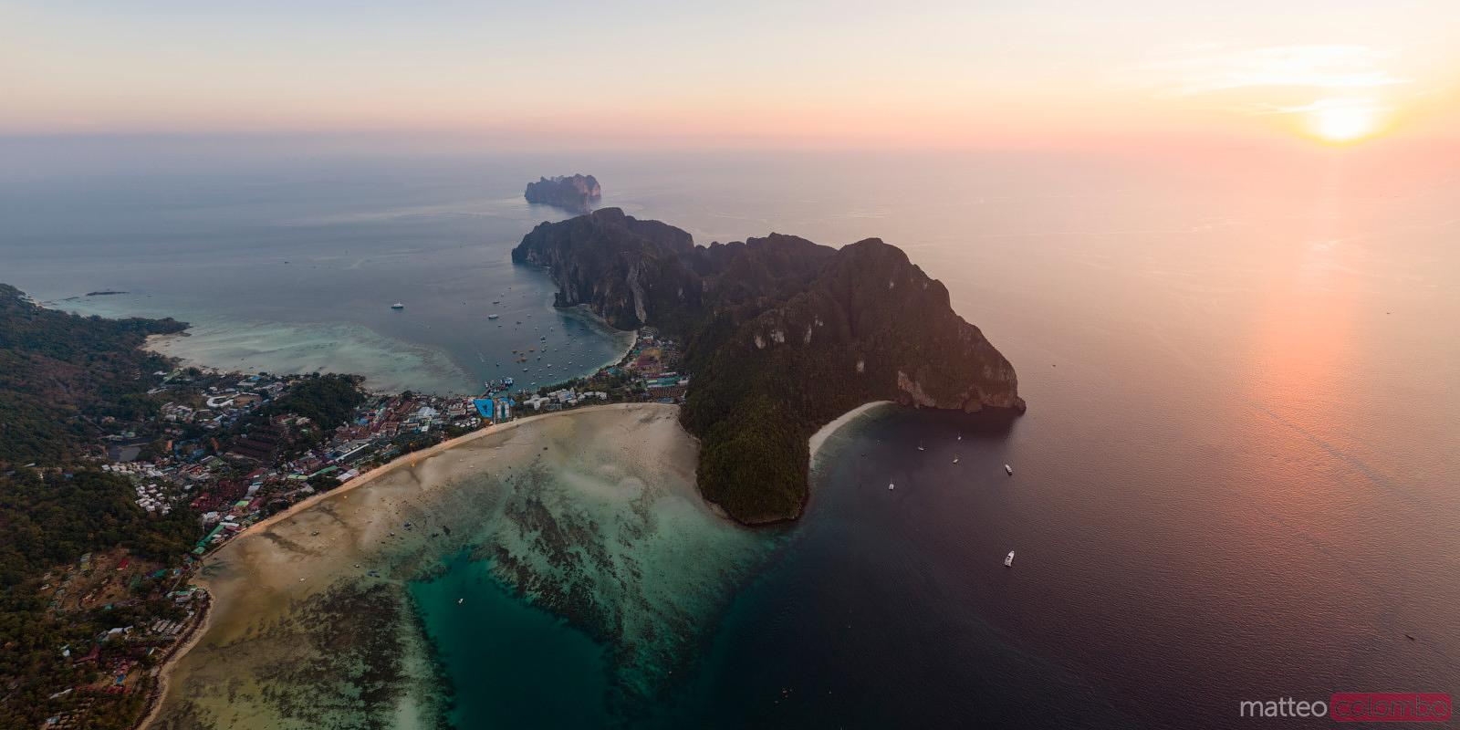 Aerial of Ko Phi Phi island at sunset, Krabi, Thailand