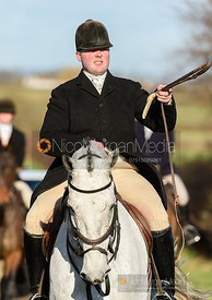 James Holliday arriving at the meet. The Tynedale hounds visit the Belvoir Hunt at Sheepwash 12/2