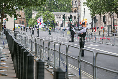 Long line of barriers in Whitehall - Trump visit
