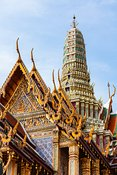 Ornate stupa and pagoda at Wat Phra Kaew, Bangkok, Thailand