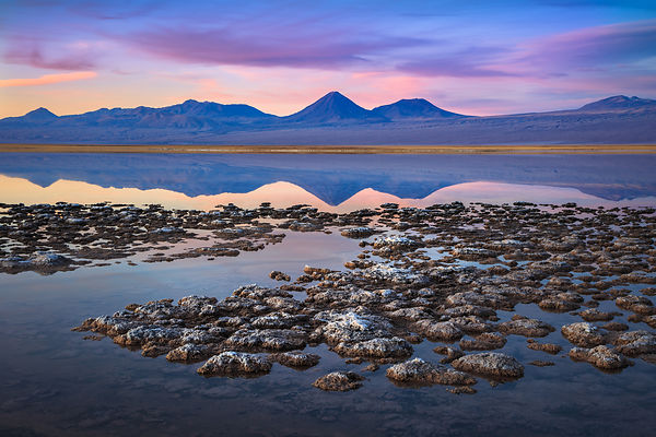 Dusk at Laguna Tebinquinche in the Salar de Atacama, in Chile's most northern region, El Norte Grande.