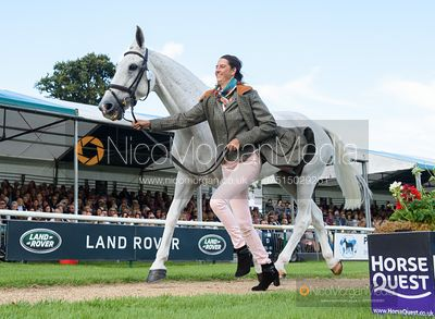 Kirsty Short and COSSAN LAD at the trot up, Land Rover Burghley Horse Trials 2019
