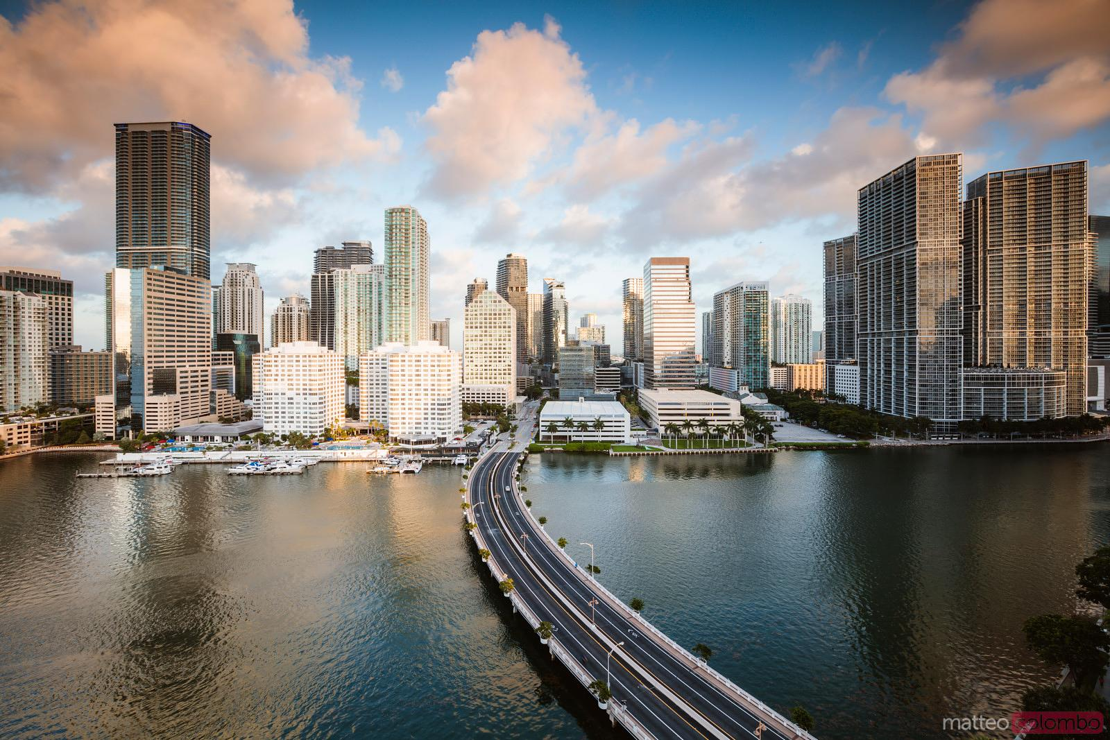 Miami downtown skyline at sunset, Florida, United States