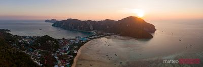 Aerial panoramic of Ko Phi Phi island at sunset, Krabi, Thailand