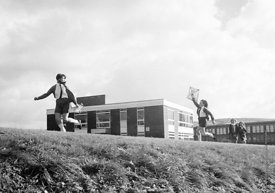 #83807,  Flying a kite, Whitworth Comprehensive School, Whitworth, Lancashire.  1970.  Shot for the book, 'Family and School,...