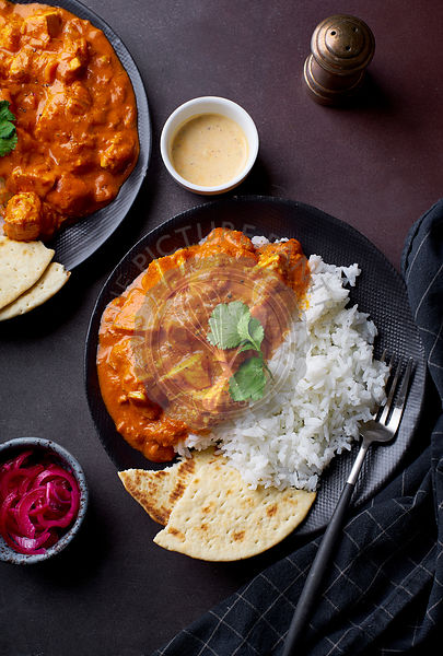 Paneer tikka masala served with basmati rice