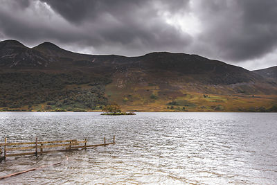 Cloudy sky above Crummock water in Lake District, UK.