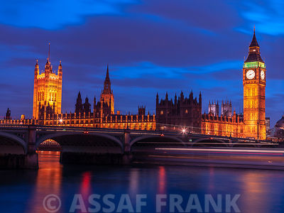 England,London,Westminster bridge at dusk