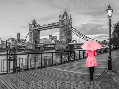 Women in pink, Tower bridge, London, UK