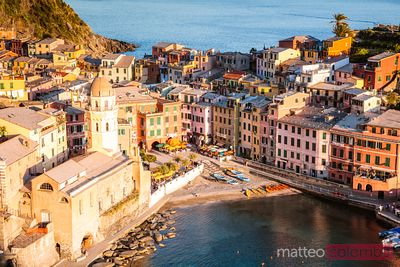 Vernazza town at sunset, Cinque Terre, Italy