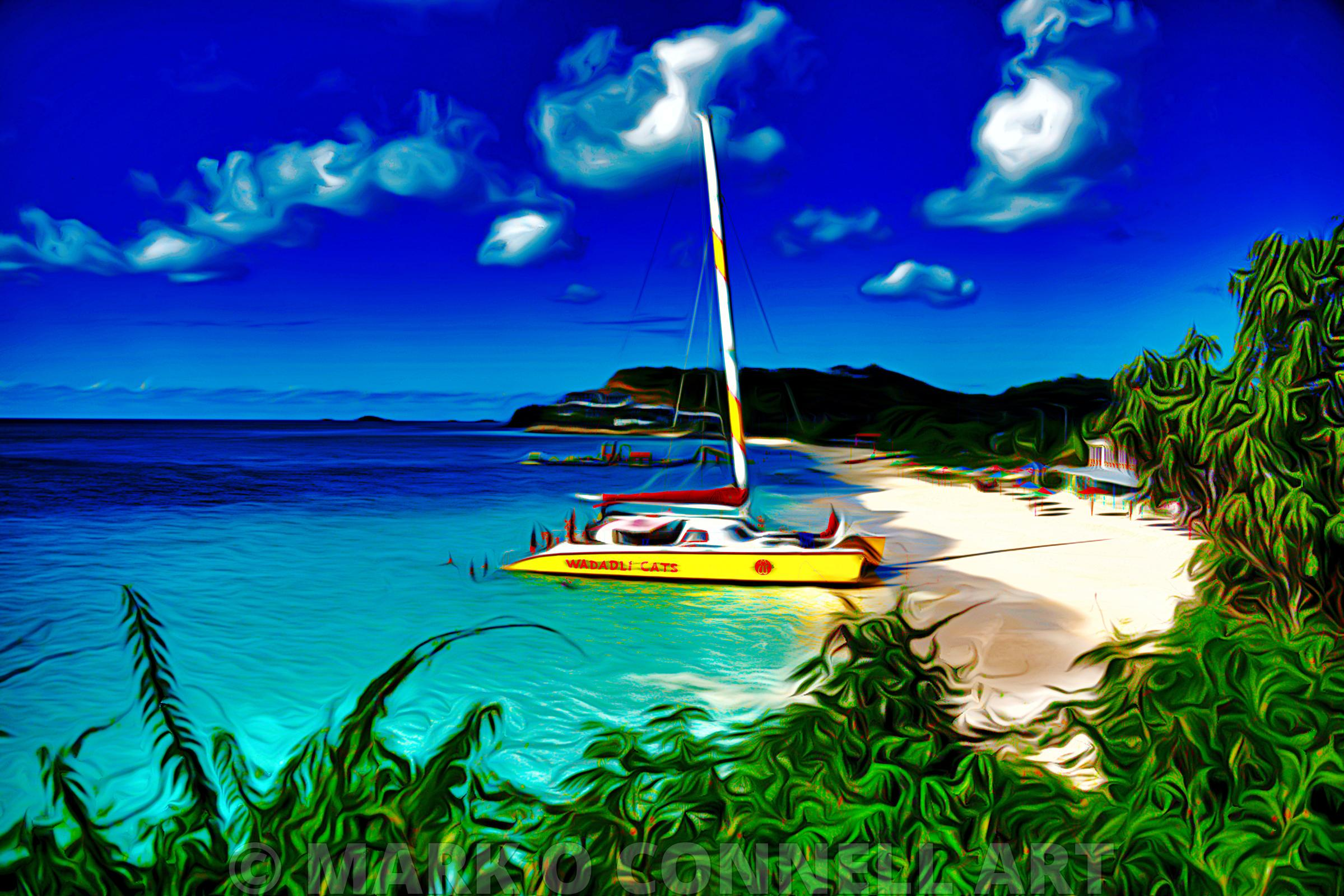 Antigua,Caribbean,airbrush,painting,art,catamaran,beach,water,ocean,sea
