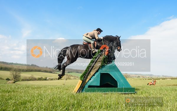 Jumping a fence at Stone Lodge. Cottesmore Fun Ride, April 2019