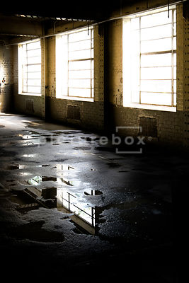 Daylight coming into an old, empty decaying building through some big windows.