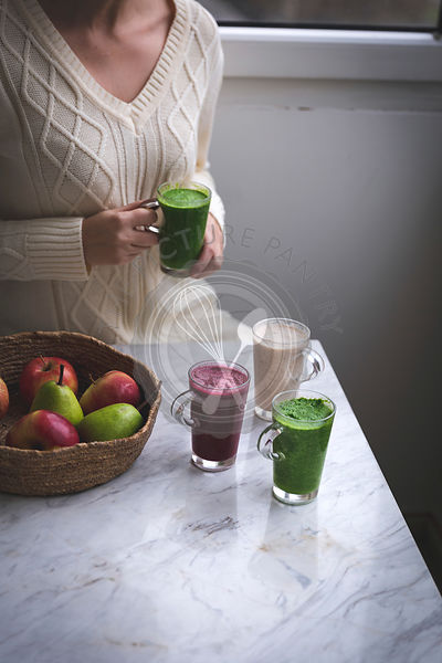 Colourful smoothies in glasses