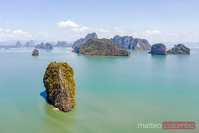 Aerial view of islands in Phang Nga bay, Thailand