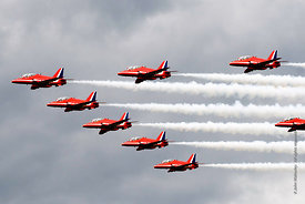 #052348,  RAF's Red Arrows display team at the Farnborough International Airshow.  2009.