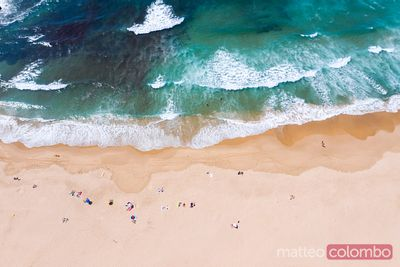 Drone view of sandy beach and ocean, Portugal