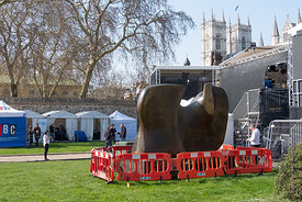 #124680  'Knife Edge Two Piece' 1962-65 by Henry Moore, surrounded by Media services which had set up their 'studios' on Coll...