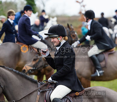 Hermione Brooksbank at the meet. The Cottesmore and Fernie Hunts at Hill Top 10/12