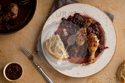 Roasted chicken with grapes