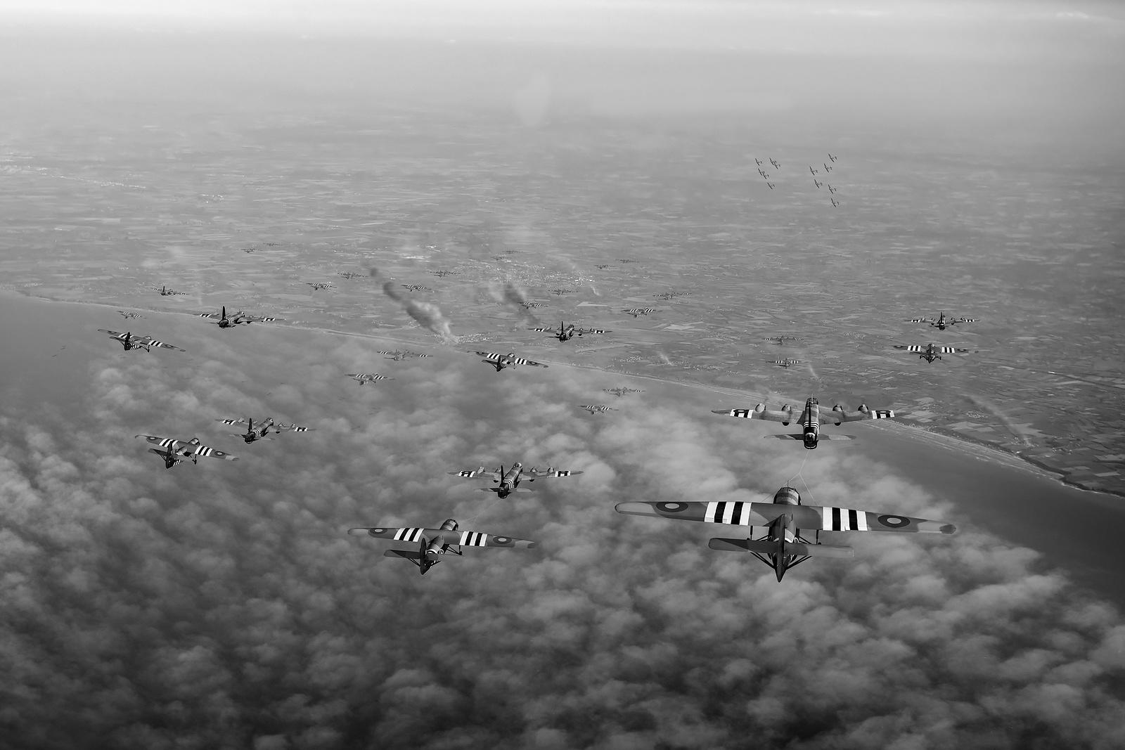 D-Day Stirlings and gliders B&W version