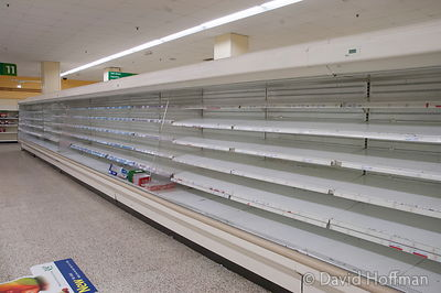 Empty shelves at Morrisons supermarket, Bow in week before it closed.