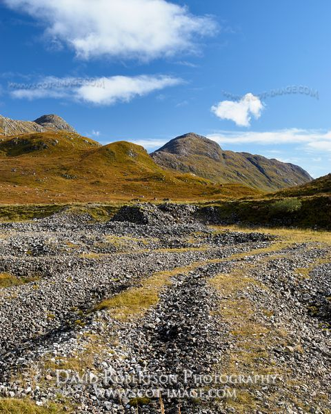 Prints & Stock Image - Tailings at the Strontian Fee Donald Lead Mine and view to Sgurr na h-Ighhinn and Sgurr a Chaorainn, A...