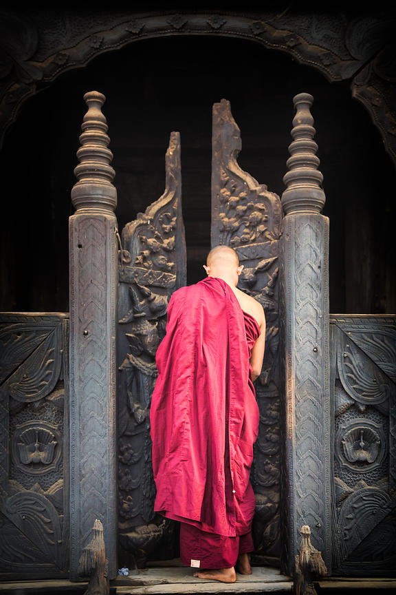 Burmese Monk Entering Bagaya Kyaung