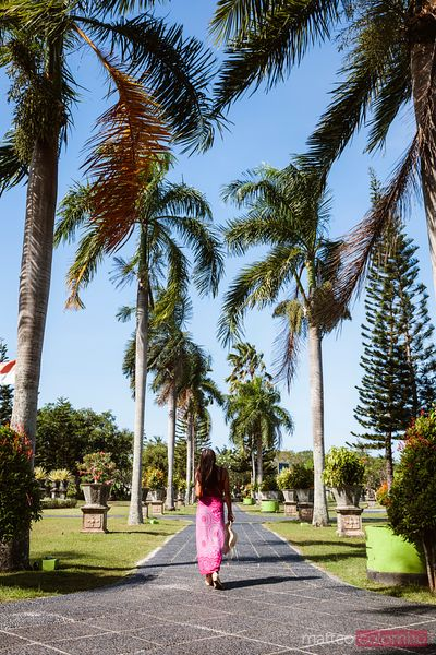 Woman walking in a palm fringed path, Bali