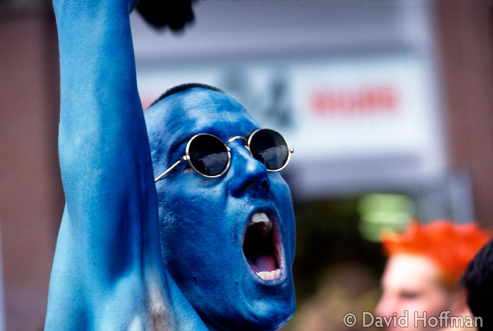 Blue Shouting Man Reclaim the Streets. Anti road protester leads the invasion of the M42 motorway.
