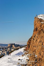 Image - Walkers on Radical Road below Salisbury Crags with view to Edinburgh Castle, Scotland