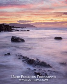 Image - View towards the Mull of Kintyre at sunset, from Port Corbert beach, near Bellochantuy, Kintyre, Argyll and Bute, Sco...