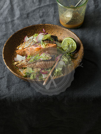 Salmon with spicy miso dressing and broccoli rice