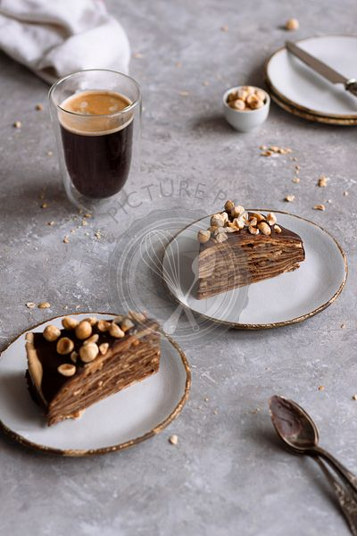 Chocolate and hazelnut crepe cake.