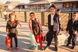 #4801,  Students at the end of the day, The Lord Byron School, Leninakan (now Gyumri), Armenia.  At 11.41am on the 7th Decemb...