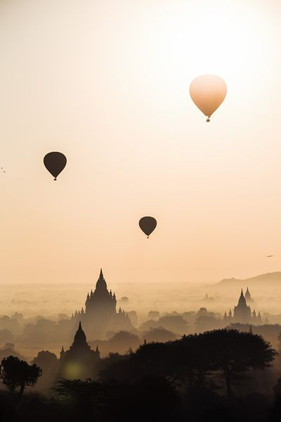 Ballooning over the temples of Bagan, Myanmar