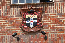 #124863,  Coat of Arms on the Christ Church College boathouse.  The 'Summer Eights', a week of rowing races for the Oxford Un...