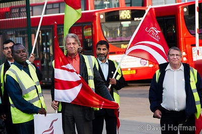 080913_Bus_Picket_34 48 hour strike action by around 3,500 London bus drivers and supervisors at First Centrewest and First C...
