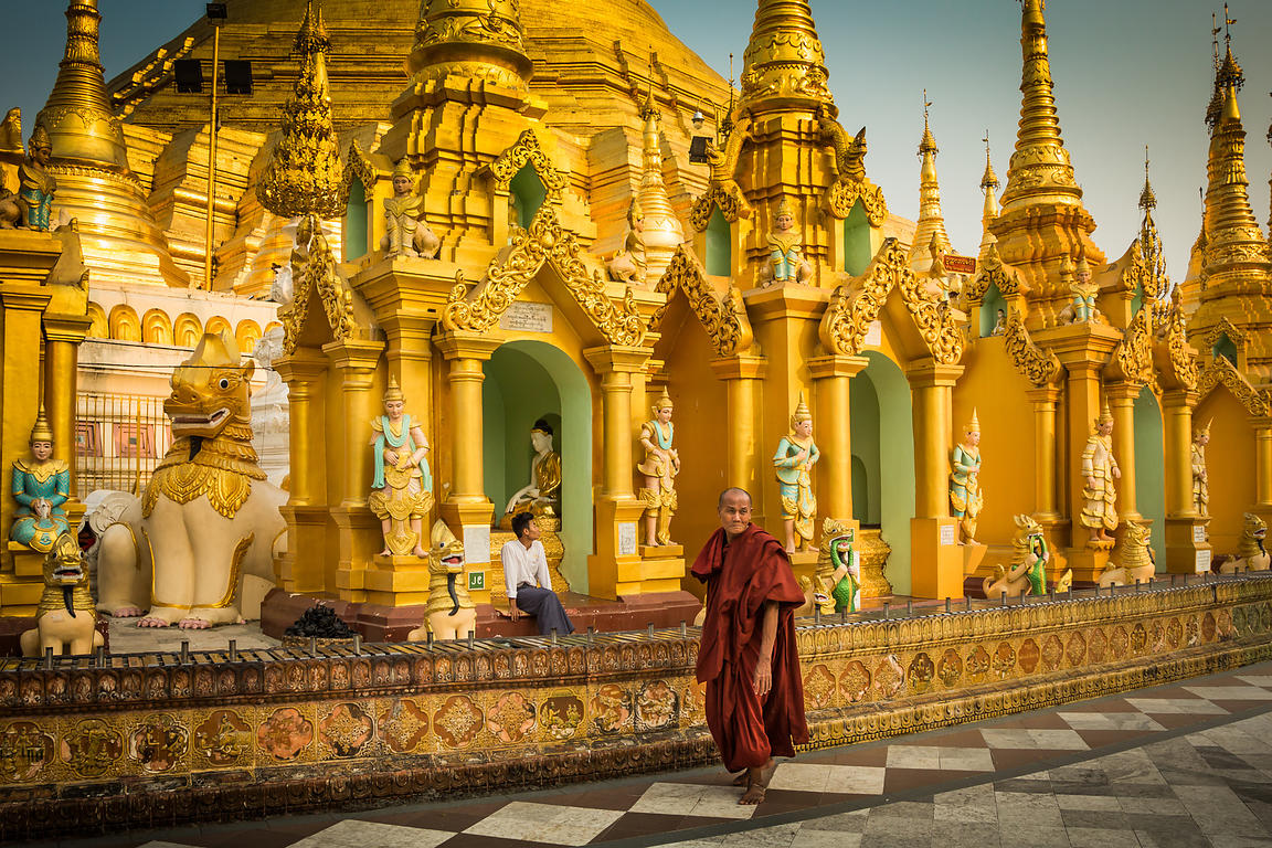 Monk in Shwedagon Pagoda