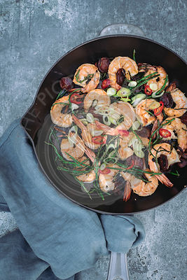 Prawns with Chorizo and Samphire on a Skillet
